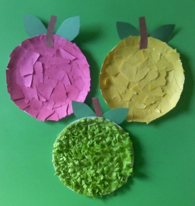 Torn Paper and Tissue paper Plate Apples