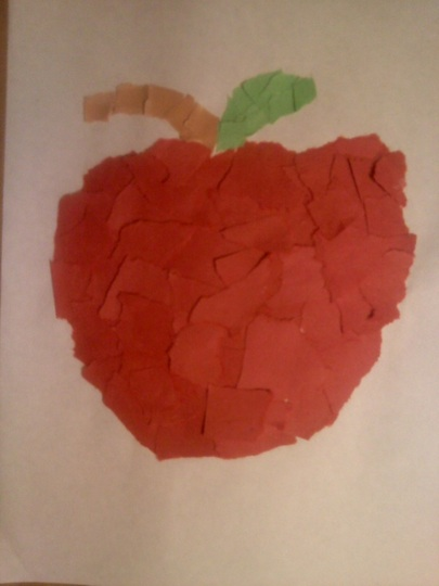 Torn paper apple